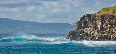 Aqua Waves (Kirt Edblom) Tags: maui mauihawaii hawaii surf gaylene wife water waves waterscape milf bay wave rock rocks cliff pacific pacificocean ocean seascape blue bluesky bluewater molkai breakers kirt kirtedblom edblom luminar nikon nikond7100 nikkor18140mmf3556 landscape