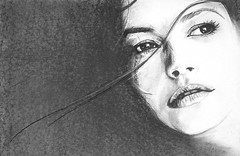 ELENA (Sketchbook0918) Tags: charcoal graphite strands hair portrait drawing paper actress actor beauty beautiful female catherinezetajones eyes lips face