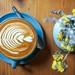 flat lay photography of coffee near flowers - Credit to https://myfriendscoffee.com/