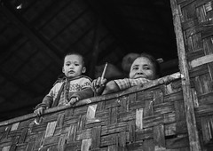 Mother And Her Child Looking Over A Window In A Bamboo House, Ngapali, Myanmar (Eric Lafforgue) Tags: adult asia asian baby bamboo bayofbengal beautifulpeople blackandwhite burma child copyspace day decoration exoticism facepowder grainy horizontal house lookingatcamera lookingthroughwindow makeup myanmar ngapali paintedface pattern photography rakhine rakhinecoast traveldestinations trix twopeople leicaburma303 rakhinestate