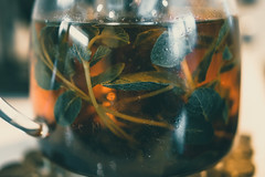 *** (donnicky) Tags: centered closeup dof drink glass leaves mint publicsec selectivefocus tea teapot transparent