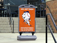 Citi Field, 09/30/18 (NYM v MIA): inside the Bullpen Gate, a sign telling Mr. Met Dash participants where they need to go (IMG_4659a) (Gary Dunaier) Tags: ballparks baseball stadiums stadia mets newyorkmets flushing queens newyorkcity queenscounty queensboro queensborough citifield