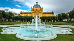 Fontana kralja Tomislava and Art Pavilion  - Zagreb, Croatia (Russell Scott Images) Tags: artpavilion fountain fontanakraljatomislava zagreb croatia