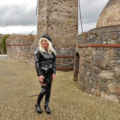 Cornish Clay Quarry, Old Chimney and Kilns (emmalouise tgirl) Tags: emma emmalouise tgirl tranny trans blonde miniskirt heels pvc boots thighboots platforms