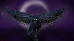 MY ENTRY! (Lord.of.the.Flames) Tags: wolf raven eyes stars moon midnight night grace graceful elegant wings fear emo art artist draw sketch doodle