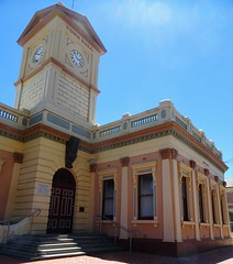 Deniliquin. In the Riverina. The 1876 built classical style Town hall. The clock tower was added later by the look of its construction. The clock was donated in 1904. (denisbin) Tags: deniliquin riverina townhall church tower