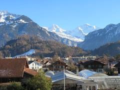 From the Hotel Beausite, Interlaken (deltrems) Tags: hotel beausite garden centre sky mountain interlaken berner bernese oberland swiss switzerland