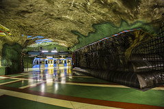 """From the cycle """"Amazing metro stations in Stockholm"""". Kungsträdgården metro station. (Pawel Wietecha) Tags: stockholm metro station subway underground architecture modern art green red brown vivid tube city cityscape landscape travel trip sweden stations train pawelwietecha amazingmetrostationsinstockholm metrostationsinstockholm architecturalphotography yellow"""