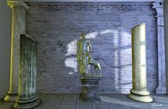 Silent enchanter (Ladmilla) Tags: sl secondlife interiors greek statue greekstatue columns monochrome art gallery exhibition artgallery artexhibition edge theedge theedgeartgallery