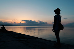 sunset at the sea (mathias-erhart) Tags: japan 日本 taketomijima 竹富島 sunset dusk cloud clouds blue black silhouette silhouettes person people water ocean reflection