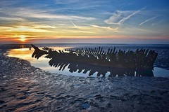 Shipwreck Sunset (Nige H (Thanks for 25m views)) Tags: nature landscape beach sunset shipwreck somerset berrow berrowbeach reflection sundown england uk southwestengland westcountry