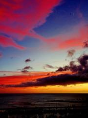 Sunset + Crescent Moon at 7% illumination (+1) (peggyhr) Tags: peggyhr moon sliver waxing crescent marina magicisland lagoon clouds sky dsc05332a