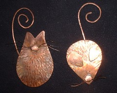 Cat & Mouse Bookmarks (coppercauldrondesigns) Tags: cat mouse copper bookmarks rustic recycled