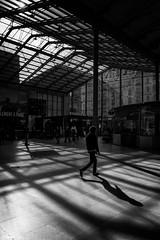 Shadows & Lights (sdupimages) Tags: light architecture composition lignes lines shadow ombres contrast parisien parisian paris garedunord noirblanc noiretblanc blackwhite rue street monochrome walker passant