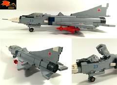 Mig-23PD three views (Eínon) Tags: lego mikoyangurevich khachaturov r27300 stovl fighter cold war cccp urss soviet union mig23pd podyomnye dvigateli