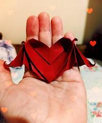 Coração Morcego ❤️😍 (ArtesaNá) Tags: origami dobradura coraçãodeorigami artesanato morcegodeorigami coraçãomorcego