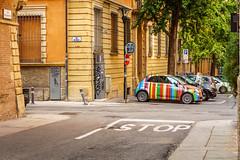 Italians, such a creative people! (FrancescoPalmisano) Tags: ifttt 500px street 500 colors italia italy architecture artisti artistic bologna car cinquecento colonnade creative fiat italians outdoor rainbow road stop