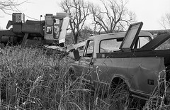 AE1P - HP5 - Custer Truck and Tractor (Nathan Hillis Photography) Tags: canon ae1 program ilford hp5 film analog truck tractor farm ruin old blackandwhite monochrome oklahoma custer county
