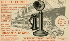Off to Europe in 1911—Are You Coming with Us? (Alan Mays) Tags: ephemera postcards advertisingpostcards advertising advertisements ads paper printed columbus columbustravelsociety societies europe candlesticktelephones candlestick telephones phones cruises ships boats oceanliners streetcars trolleys railways railroads trains locomotives autos automobiles cars airplanes aircraft biplanes planes travel transportation monaghan jamescharlesmonaghan jcmonaghan burke bellenburke toomey dptoomey breen williampbreen illustrations borders ircles red grey gray newyorkcity ny newyork 1911 1910s old vintage typefaces typography fonts