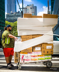 The New Yorkers - Delivery (François Escriva) Tags: street streetphotography us usa nyc ny new york people candid olympus omd photo rue sun light man colors sidewalk manhattan delivery parcels stockages cardboard box boxes green red blue sky