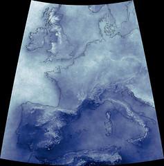 Cumulative European Cloud Cover Since 1999, variant (sjrankin) Tags: 3march2019 edited nasa europe clouds modis atlanticocean mediterraneansea weather