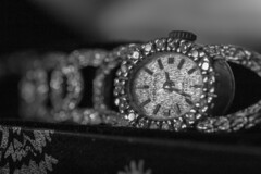 As Time Goes By (sdupimages) Tags: bokeh blackwhite noirblanc noiretblanc bw nb monochrome montre watch macromondays jewelry bijou diamonds diamants bracelet macro sigma