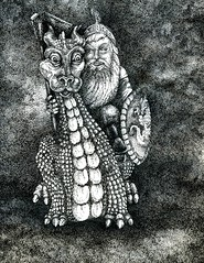 Someone You Love ... with a Dragon (Life Imitates Doodles) Tags: penandink dragon knight doodlewash