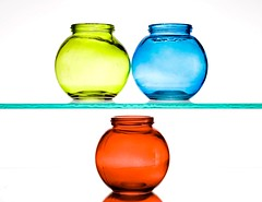 Jars (Karen_Chappell) Tags: jar jars bottle glass three 3 red blue green rgb white stilllife product colourful colocolor colour multicoloured round shapes highkey bright