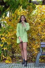 Kornelia (piotr_szymanek) Tags: kornelia woman young skinny portrait outdoor face longhair autumn eyesoncamera green leaves korneliaw legs 1k 20f 50f 5k 10k 100f