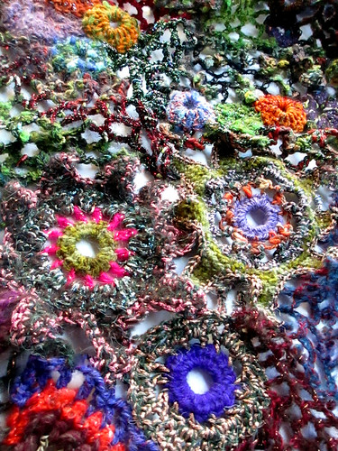 close up of 'Safe Passage', a freeform crochet artwork by Prudence Mapstone