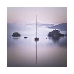 Daybreak (Lindi m) Tags: lakedistrict bownessonwindermere dawn misty tranquility square boat minimal islands sunrise reflections