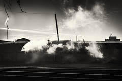 smoke on the railroad (Pomo photos) Tags: railroad road rail smoke pipe branch branches mist surreal abandoned city cityscape urban em10mk2 olympus olympus25mm sepia brown wire cable building house sky clouds darkness blackandwhite blackwhite bw monochrome mono mood art contrast light shadow
