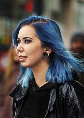 Portrait (D80_523817) (Itzick (away until 1st. April)) Tags: denmark copenhagen candid color bluehair earrings streetphotography face facialexpression portrait d800 itzick