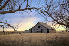 (No Stone Unturned Photography) Tags: barn abandoned farm sunset trees framed