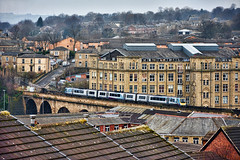 Skimming The Rooftops (whosoever2) Tags: uk united kingdom gb great britain england nikon d7100 train railway railroad march 2019 tpe transpennine express dewsbury yorkshire viaduct stone 1p25 manchester newcastle class185