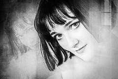 the devil inside (gotan-da) Tags: blackwhite schwarzweiss noiretblanc blackandwhite bw monochrome model modelo female femme frau beauty natural brunette sensual makeup eyes lips girl woman portrait ritratto retrato canon belle bellezza erotic donna