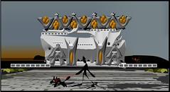 Paseando con el perro (Amparo Higón) Tags: perro dog paseando walkingthedog digitalart digitalpainting artwork artecontemporáneo edificio building arquitectura architerture cieloazul bluesky kunst modernekunst coreldraw amparohigón