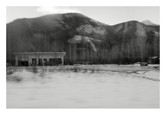 Drive-by Canada (Robert Drozda) Tags: alaskahighway toadriver britishcolumbia canada building services winter snow ttw driveby fbxtopdx2018 monochrome drozda