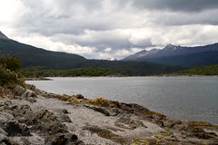 View over bay in Tierra del Fuego National Park (Paul Cottis) Tags: tierradelfuego patagonia ushuaia argentina landscape january 15 2019 jan paulcottis beach view mountain bay water sea cloud scenery