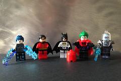 Livewire, Robin, Batman, Red Hood Joker and Mr Freeze (bricksfreaks) Tags: bricksfreaks bricks gotham dc dccomics custom comics customlego customminifigures customfigures minifigures minifigs lego superheroes supervillains figures freaks livewire robin batman joker mrfreeze redhood