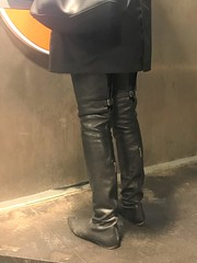 Rosina at the cash machine (in thigh high leather boots by Dolce & Gabbana) (Rosina's Heels) Tags: thigh high leather boots