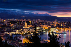 Panorama of town Split at dawn, Dalmatia, Croatia (Alen Ferina photography) Tags: split spalato dalmatia dalmacija croatia hrvatska adriatic mediterranean europe europeanunion eu jadran jadranskomore city town sea coast waterfront dawn bluehour night lights street port harbor harbour ship reflections architecture urban cityscape urbanscape townscape cathedral tower stdomnius citylights promenade center panoramicview panorama landscapeoriented horizontaloriented mountains skyline oldtown streetlights diocletianspalace hills