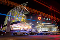 BOK Center (ezeiza) Tags: oklahoma ok tulsa bokcenter bok cesarpelli pelli architecture building arena downtown city lights night lightstream stream sign street car truck vehicle automobile tree stairs steps exterior