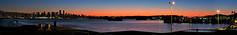Feb. 9 Sunset Panorama (Reva G) Tags: sunset panorama vancouver northvancouver northshore skyline sky orange blue lonsdalequay view seabus transit translink water ocean burrardinlet lionsgatebridge bc britishcolumbia february canada winter