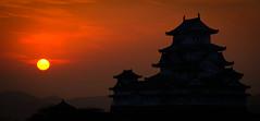 Sunrise, Himeji Castle, Japan (Darcey Prout) Tags: jp japan asia himeji castle egret white black sunrise hdr nikon d800 28300 nikkor sun red dawn