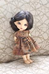 Nicely Neutral (AluminumDryad) Tags: fairyland pukifee pkf ante tinybjd bjd balljointeddoll doll resin upholstery brown neutral tan batik dolldress dollclothes handmade
