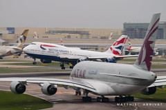 British Airways B-747 landing in London (Matthisphotography) Tags: british airways london heathrow airport panning slow shutter speed airbus boeing airplane airliner airline airlines jet runway touchdown aircraft plane avion england english b747 queen a380 king sky nikon d5300 tamron 150600