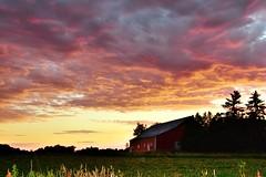 Wisconsin Barn Scene (marymorano) Tags: wisconsinbarns nature landscapes sunset sun sky barn farms flickrunitedaward