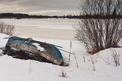 Old Fishing Boat By The Beach (k009034) Tags: 500px wooden copy space finland scandinavia tranquil scene beach boat branches clouds cold countryside fishing ice nature no people old rural rustic scenic sea sky snow stick tools trees village willow winter horizon over water coastline teamcanon copyspace tranquilscene nopeople