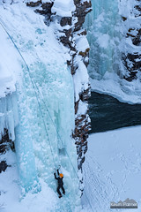 Twin Icefalls (kevin-palmer) Tags: abisko sweden swedishlapland arctic march winter cold snow snowy ice icy frozen icefall waterfall canyon climber climbing rope nikond750 europe abiskoriver scandinavianmountains cliffs nikon180mmf28 telephoto